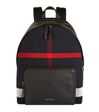 Burberry Shoes And Accessories Canvas Leather Check Backpack Unisex Black