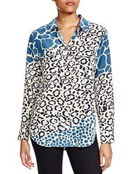 Equipment Slim Signature Mixed Animal Print Silk Blouse Alfalfa Multi