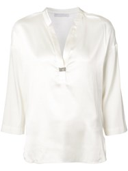 Fabiana Filippi V Neck Blouse Women Silk Spandex Elastane 44 White