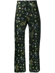 Martine Rose Floral And Bird Embroidered Trousers Black