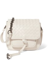 Bottega Veneta Saddle Mini Intrecciato Leather Shoulder Bag White