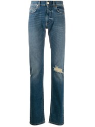 Versace Distressed Effect Straight Leg Jeans 60