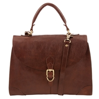 John Lewis Large Leather Top Handle Bag Tan