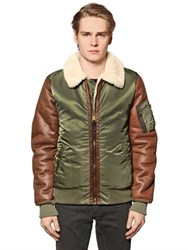 Alpha Industries Faux Leather And Nylon Aviator Jacket