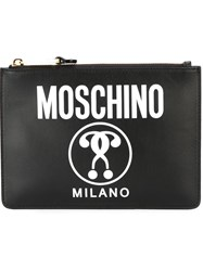Moschino Double Question Mark Print Clutch Black