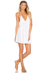 Indah Saffron Solid Mini Dress White