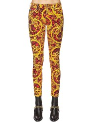 Versace Printed Cotton Denim Jeans Red