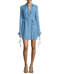 Michael Kors Long Sleeve Button Front Shirtdress Sky Blue Women's