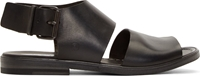 Marsell Black Leather Buckled Strap Sandals