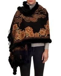 Gorski Paisley And Floral Cashmere Stole W Fur Trim Black Yellow