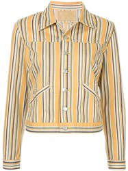 Hysteric Glamour Striped Denim Jacket Yellow And Orange