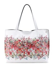 Elliott Lucca Floral Printed Reversible Faux Leather Tote Denim Bouqet