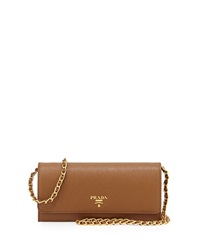 Prada Saffiano Leather Wallet On Chain Brown Cannella
