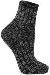 Maria La Rosa Metallic Ribbed Wool Blend Socks Black
