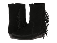 Minnetonka Side Fringe Wedge Boot Black Suede Women's Boots