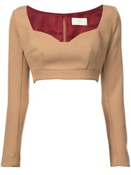 Sara Battaglia Cropped Jersey Top Nude And Neutrals