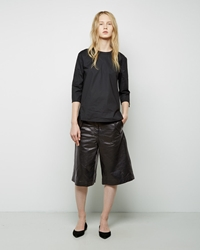 Acne Studios Hunter Paper Wide Leather Shorts Black