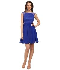 Aidan Mattox Chiffon Party Dress With Lace Illusion Neptune Women's Dress Blue