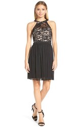 Junior Women's Morgan And Co. Lace Bodice High Neck Skater Dress Black Nude