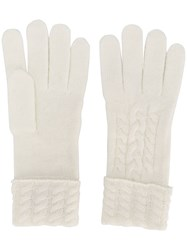 N.Peal Cable Knit Gloves White