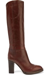 Brunello Cucinelli Leather Knee Boots Dark Brown