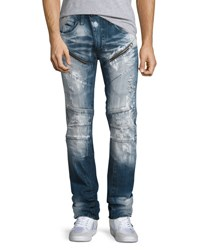 Prps Distressed Moto Jeans W Paint Indigo