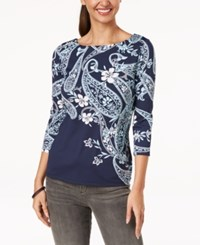 Charter Club Boat Neck Top Created For Macy's Intrepid Blue Paisley Combo