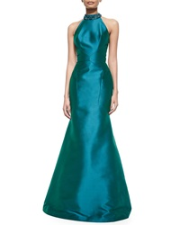 Theia Sleeveless Jeweled Neck Mermaid Gown