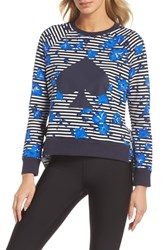Kate Spade New York Hibiscus Stripe Sweatshirt Rich Navy