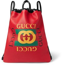 Gucci Printed Leather Drawstring Backpack Red
