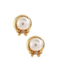 Belpearl 14K Freshwater Pearl And Diamond Bow Button Earrings