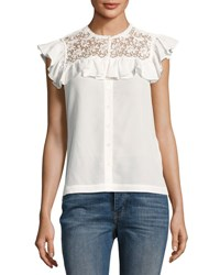 Rebecca Taylor Lace Trim Cap Sleeve Crepe Top White