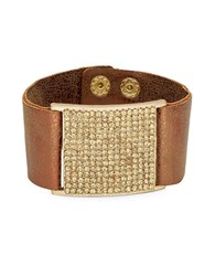 Design Lab Lord And Taylor Faux Leather Crystal Pave Cuff Gold