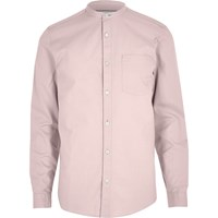 River Island Mens Dusty Pink Oxford Grandad Shirt