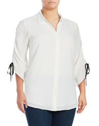 Jones New York Plus Ruched Sleeve Button Down Shirt Ivory