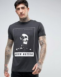 Asos Relaxed T Shirt With Skull Print And Rolled Sleeve Bal Black