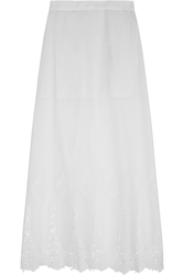 Miguelina Celine Crocheted Cotton Maxi Skirt White