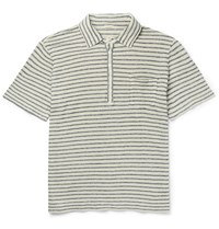 Massimo Alba Wembley Striped Linen Polo Shirt Gray