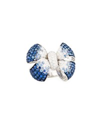 Leo Pizzo Diamond And Blue Sapphire Bow Tie Ring In 18K White Gold