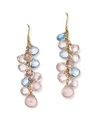 Bloomingdale's Rose Quartz And Blue Topaz Briolette Drop Earrings In 14K Yellow Gold Rose Blue