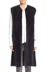 Women's Helmut Lang Genuine Shearling Vest Navy