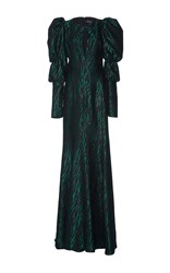 Andrew Gn Puff Shoulder Gown Green