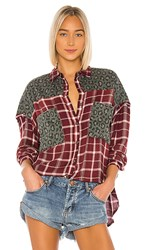 One Teaspoon Motley Shirt In Red Green. Oxblood Check