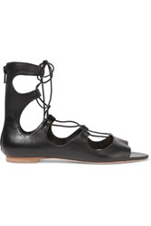 Loeffler Randall Dani Lace Up Leather Sandals Black