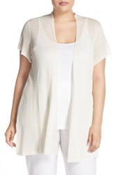 Plus Size Women's Eileen Fisher Hemp Blend Short Sleeve Open Front Cardigan Bone