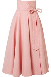 Sara Battaglia Gingham Cotton Blend Wrap Midi Skirt Pastel Pink Gbp