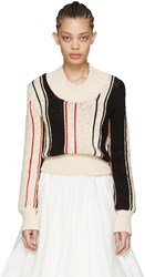 J.W.Anderson Off White Striped Scoop Sweater