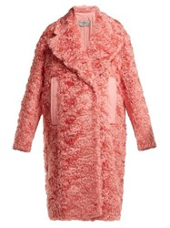 Sportmax Sella Mohair Blend Shearling Effect Coat Pink