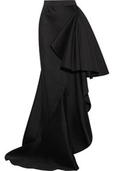 Lanvin Ruffled Wool And Silk Blend Maxi Skirt Black