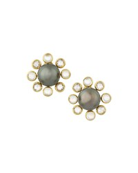 Prince Dimitri For Assael 18K Tahitian Pearl Moonstone And Diamond Flower Button Earrings